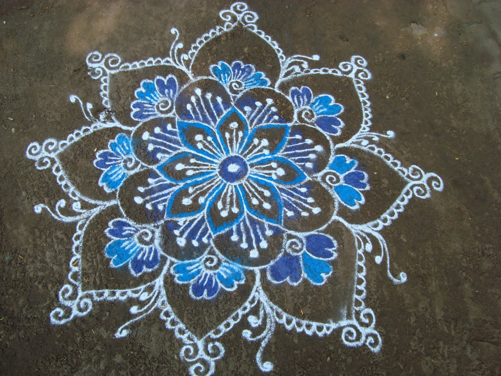 Made This Kolam For Blue Day Celebration