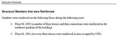 Texto: Elementos estructurales que fueron reforzados, NCSTAR 1-1C, pág. xlviii