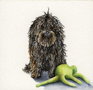 watercolour pet portrait painting
