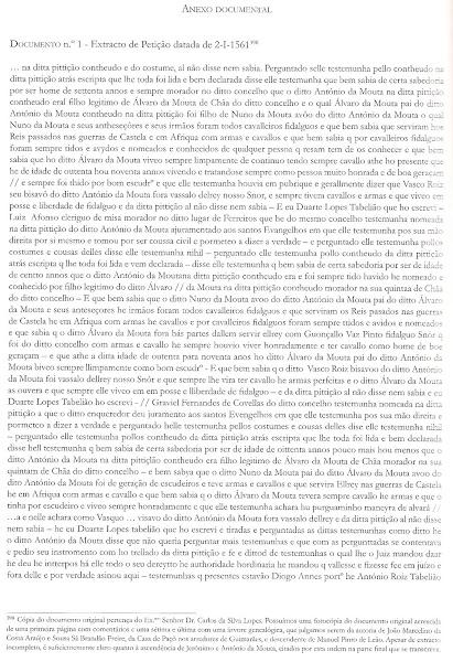 Justificação de nobreza de António da Mouta (Pinto) datada de 2-1-1561