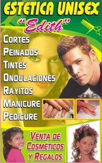 "Publicidad a: ESTETICA UNISEX ""EDITH"" ~ IMPRENTA SHALOM"