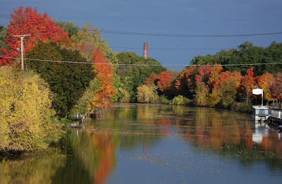 fall foliage oil painting, Erie Canal at Fairport NY (c)2008 jcb
