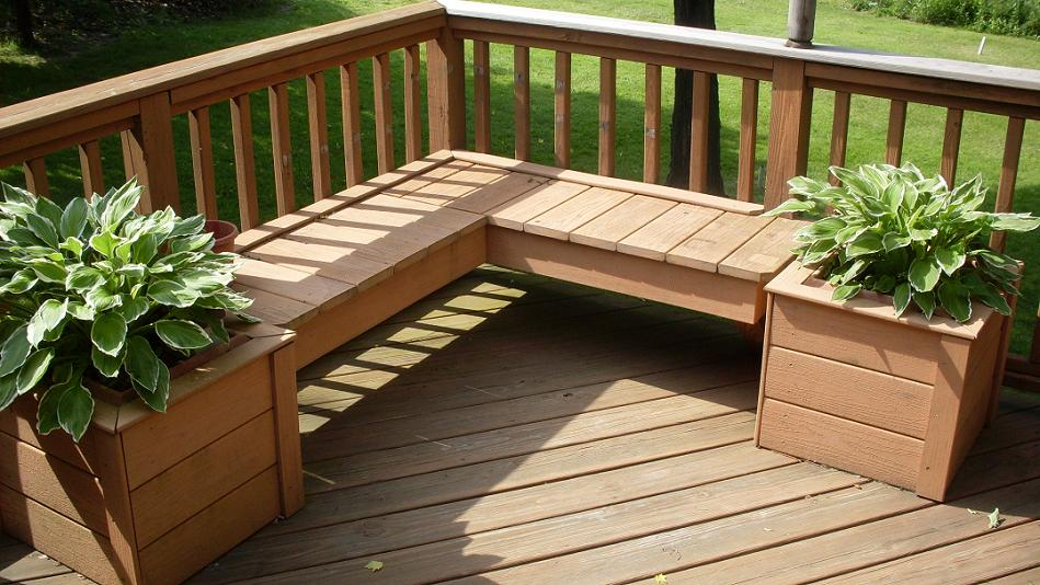 Project working idea outdoor bench with planter boxes plans for Deck garden box designs