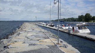 downtown view of Sackets Harbor jetty