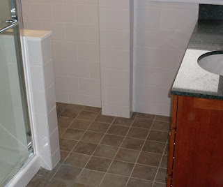 6 x6 tile floor and white subway tile walls