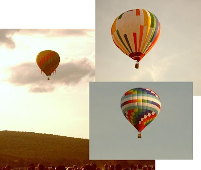 montage of three balloons heading skyward