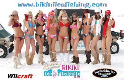 bikini ice fishing team