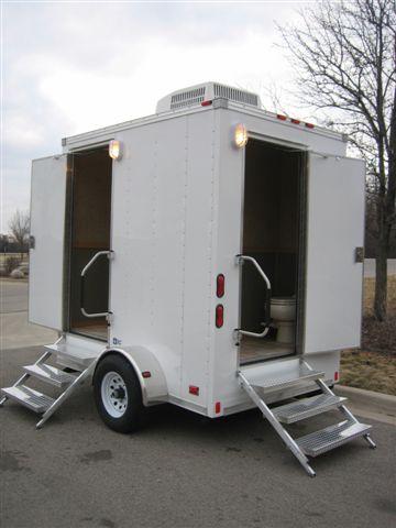 Portable restroom trailer elite events rental for Portable bathroom trailers