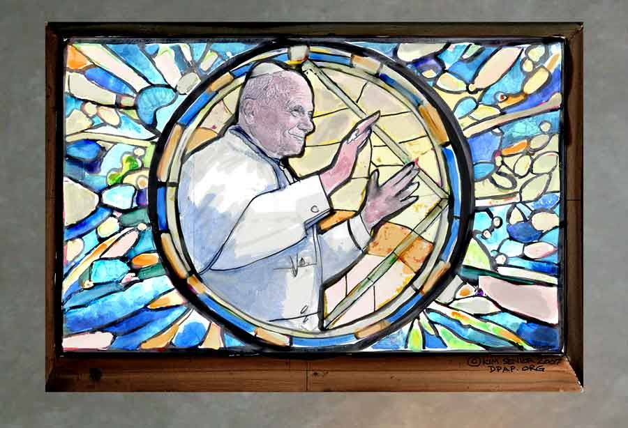 Art murals paint john paul ii stained glass mural class for Mural glass painting