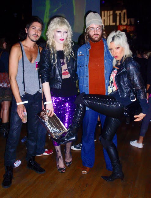 Darian Darling, Painter/Artist Kevin Baker, Breedlove and DJ Lady Starlight at Semi Precious Weapons Perez Hilton concert