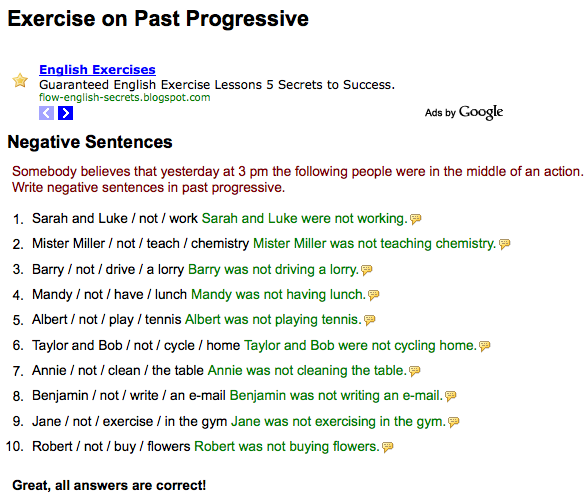 ... Sentences ... : Week 8 - Past Progressive-Negative Sentences & Check