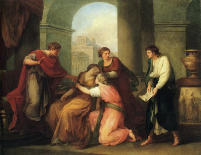 Virgil Reading the Aeneid to Augustus and Octavia - painting by A Kauffman
