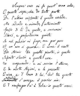 Manoscritto de L'Infinito