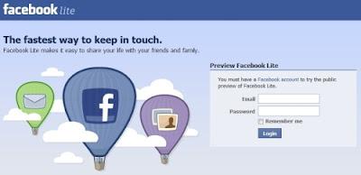 tampilan halaman login facebook lite dengan gambar balon udara