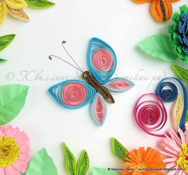 Квиллинг бабочка для открытки