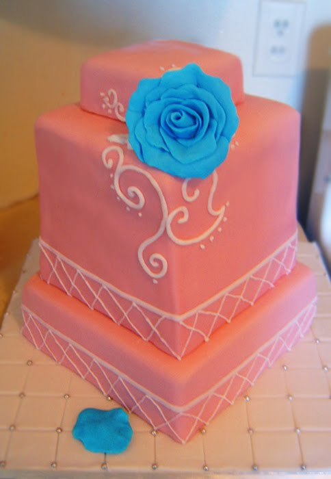Pink Blue Rose Wedding Cake A blue rose was what the groom gave the bride