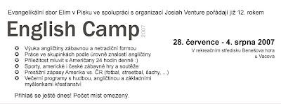 Přihláška na English camp Písek 2007