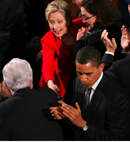 Clinton Snubs Obama In Greeting Ted Kennedy During State Of The Union