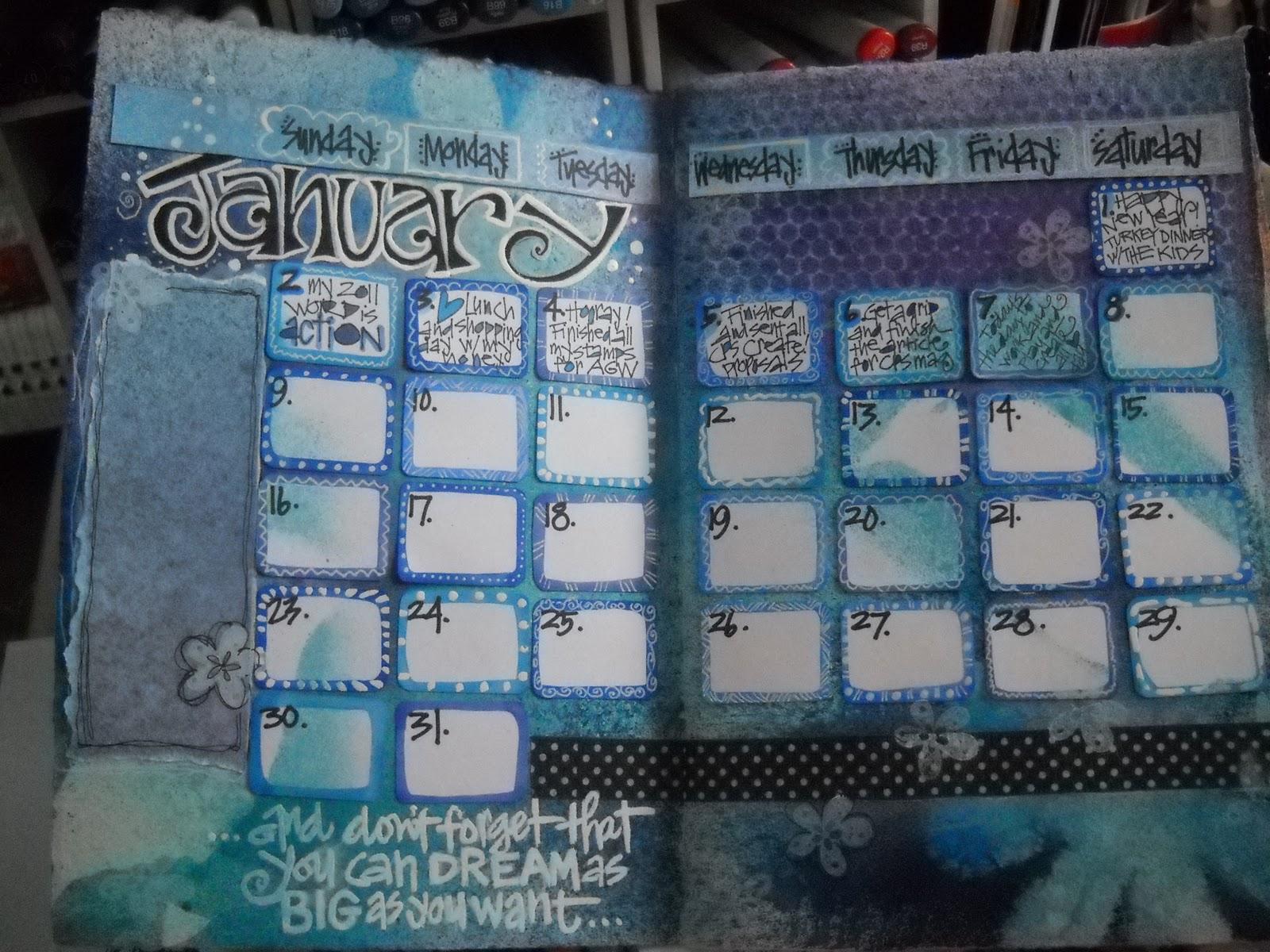 Calendar Art Journal : Whimspirations journaling art calendar