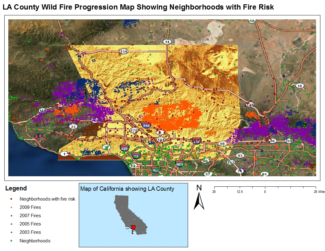 the above map is again another extension of the previous maps but over a larger temporal scale this time wild fire data from four different years are