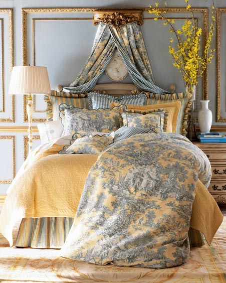 Blue And Yellow Toile Bedding
