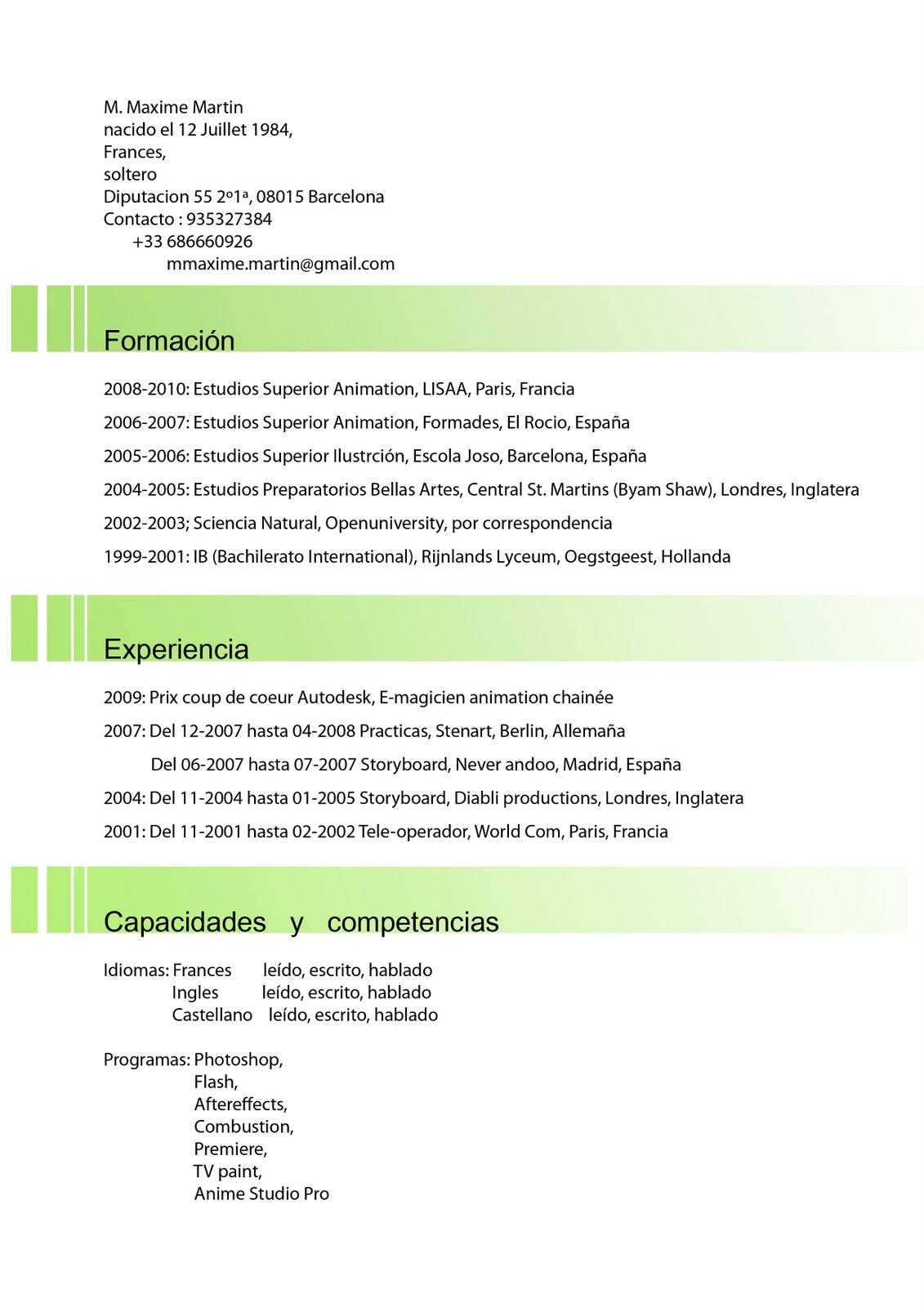 course for curriculum vitae