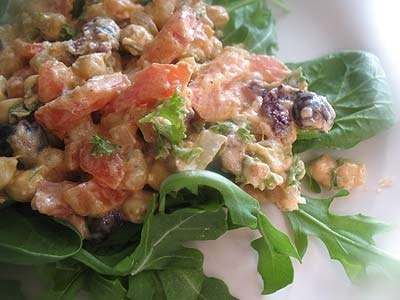 Chickpea Salad With Goat Cheese Olives And Arugula Lisa
