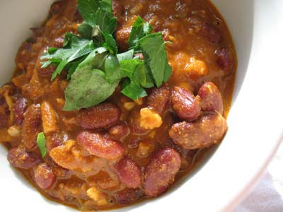 Kidney Beans in a Slowly Simmered Tomato Sauce with Shredded Paneer