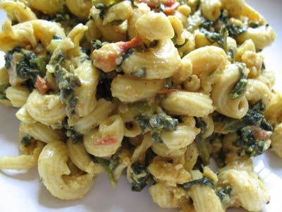Indian-Style Macaroni and Paneer Cheese with Spinach