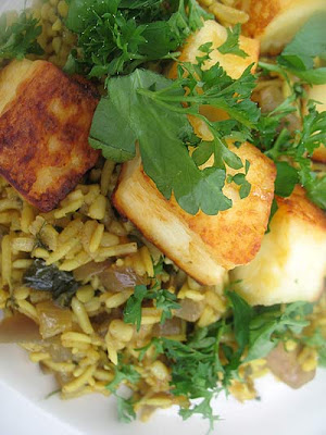 Wild Mushroom and Paneer Pilaf with Urad Dal
