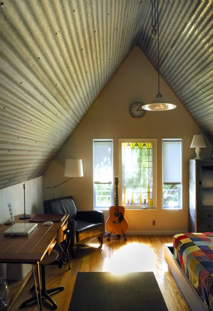 Building Green In Vermont Corrugated Metal Ceiling