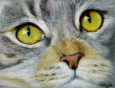 Fur In The Paint Silver Tabby Cat In Oil Pastel 2