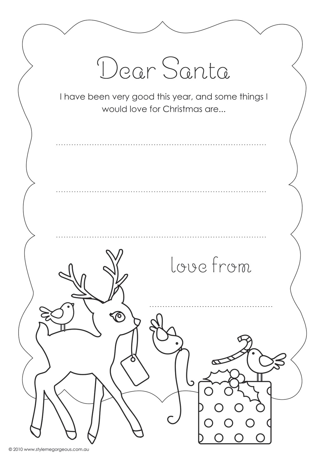 Style Me Gorgeous Free Colour In  Letter To Santa