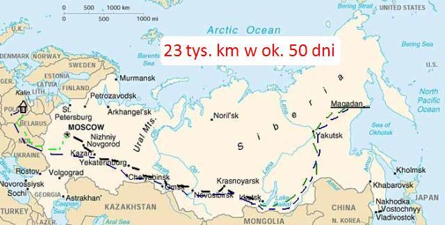 Mapa Rosji z wytyczoną Trasą