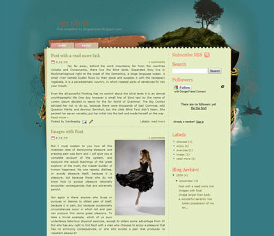 Lost island blogger template