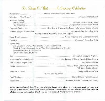 Aaliyah Funeral Program
