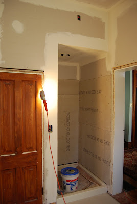 Stand and deliver bathroom renovation drywall and tub for Drywall or cement board for shower