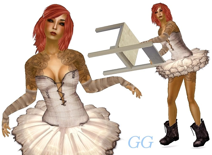 "Ballerina Shrug 1-2.jpg. So that's the close up. Here's the whole thing: Outfit: ""ballerina and bandages"" Rotten Toe Tattoo: ""SnakeBite"" Para Designs"
