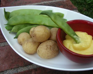 Romano beans and new potatoes with a thick version of lemon-garlic sauce, here used as a dip