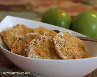 Fried green tomatoes, but fried in the oven with no more than cooking spray