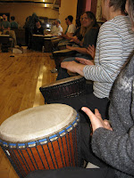 Forty people drumming in sync makes for a very cool sound.