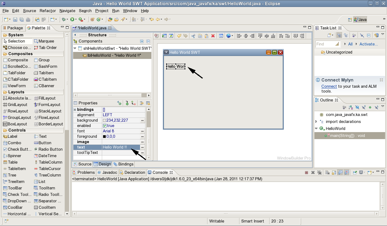 Jcafefo swt hello world using windowbuilder right click on helloworldjava run as java application baditri Choice Image