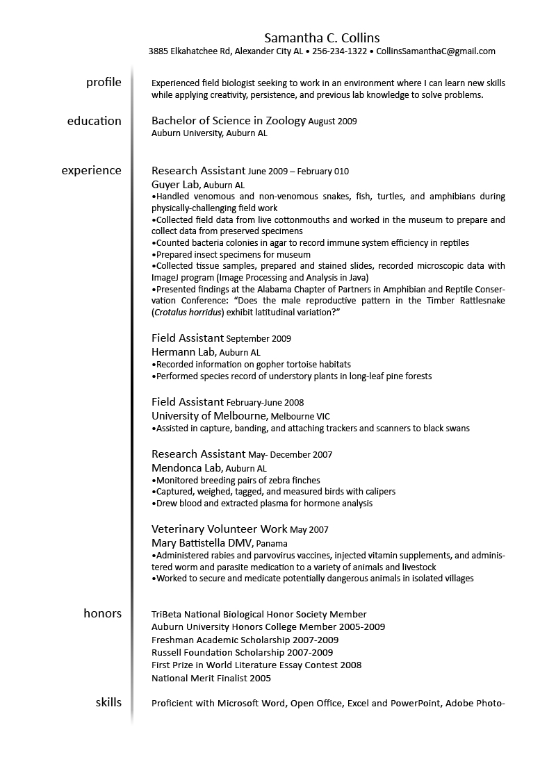 resume samples for veterinary technician images