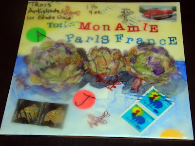 Artichoke Pear Mail Encaustic