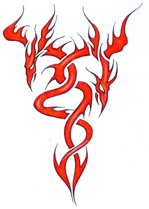 Red flaming dragon phoenix tattoo drawing.