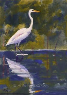 Great Egret watercolor heron painting