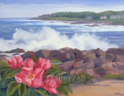 Maine Coast Perkins Cove oil painting