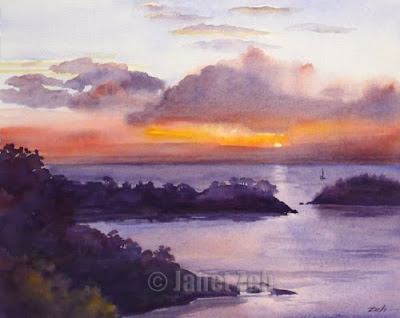 Caribbean island sunset watercolor painting