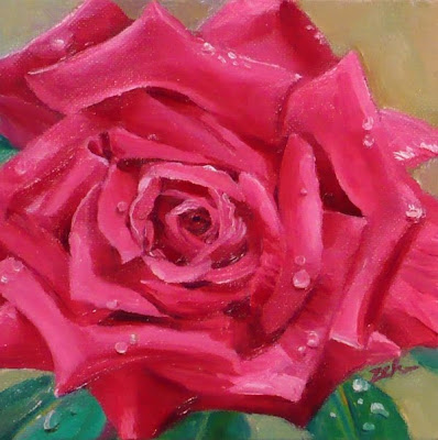 Pink Rose oil painting by Janet Zeh