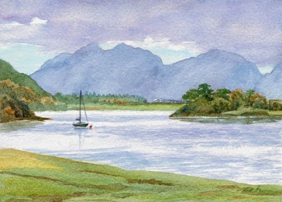 Lake in the Scottish Highlands, watercolor painting by Janet Zeh